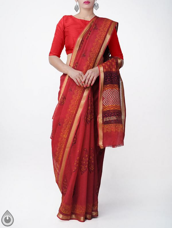 Red Pure Kota Cotton Saree With Napthol Prints-UNMP32923