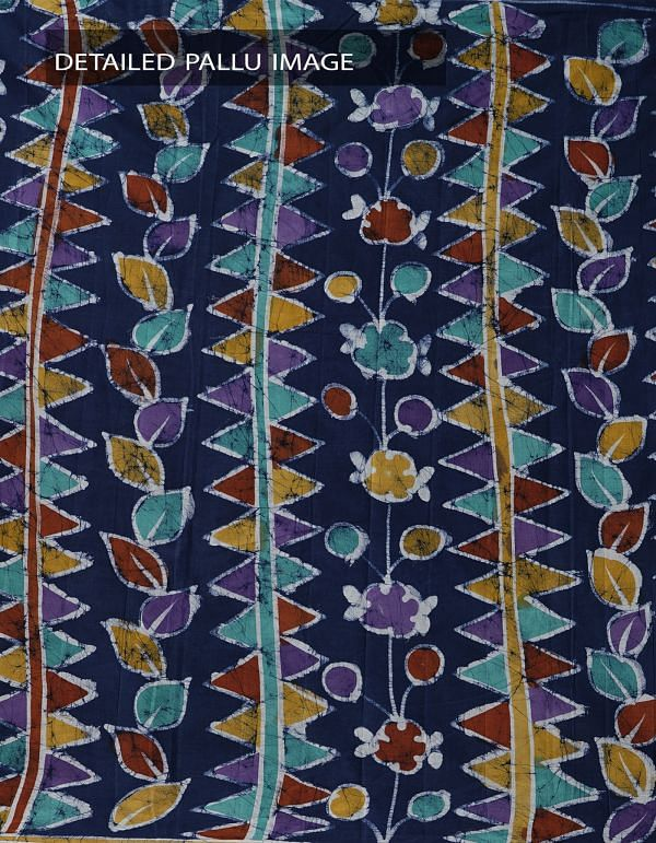 Online Shopping for Blue Batik Cotton Saree with Batik prints from Bihar at Unnatisilks.comIndia