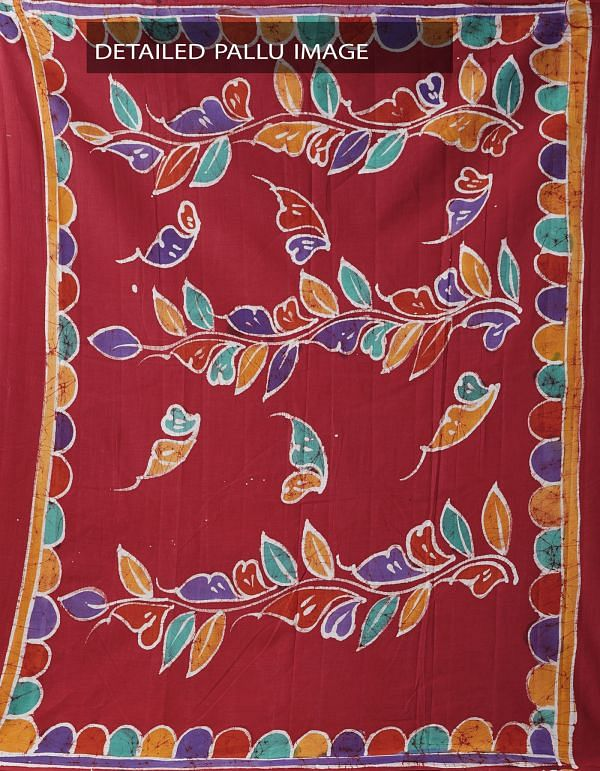Red Batik Cotton Saree-UNMP32941