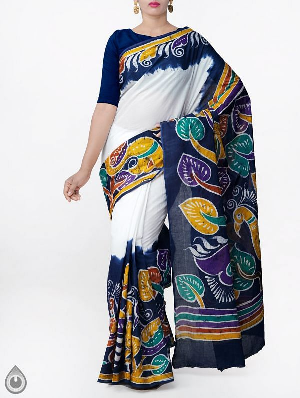 Online Shopping for Off White Batik Cotton Saree with Batik prints from Bihar at Unnatisilks.comIndia