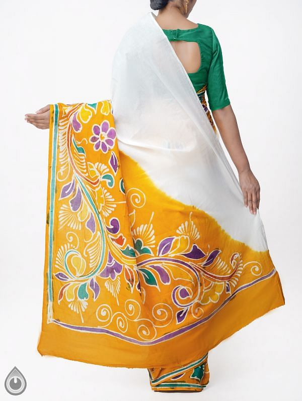 Off White Batik Cotton Saree-UNMP32946