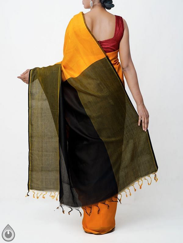 Orange Pure Handloom Mangalagiri Silk Saree with Tassels-UNMP32953