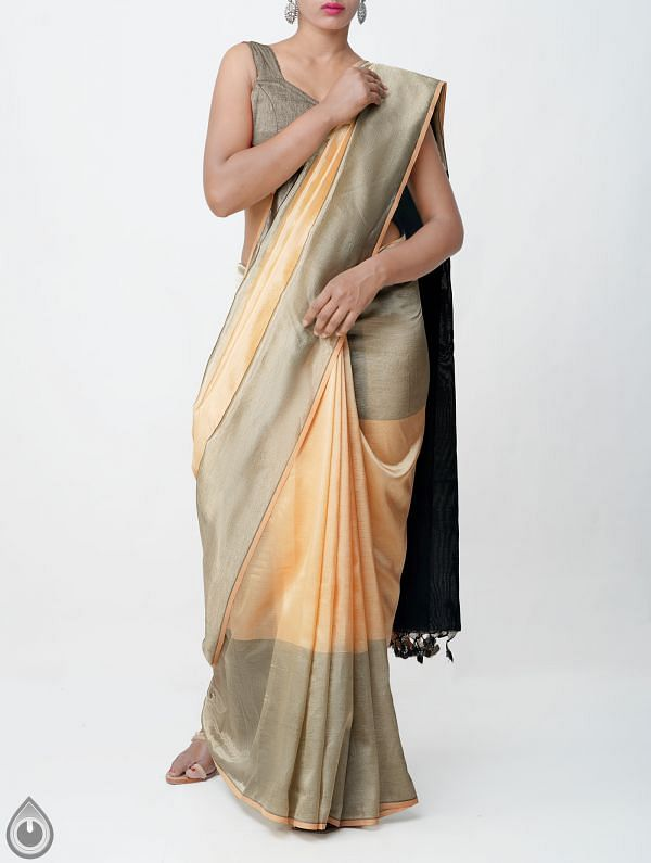 Online Shopping for Brown Pure Handloom Mangalagiri Silk Saree with Tassels with Weaving from Andhra Pradesh at Unnatisilks.comIndia