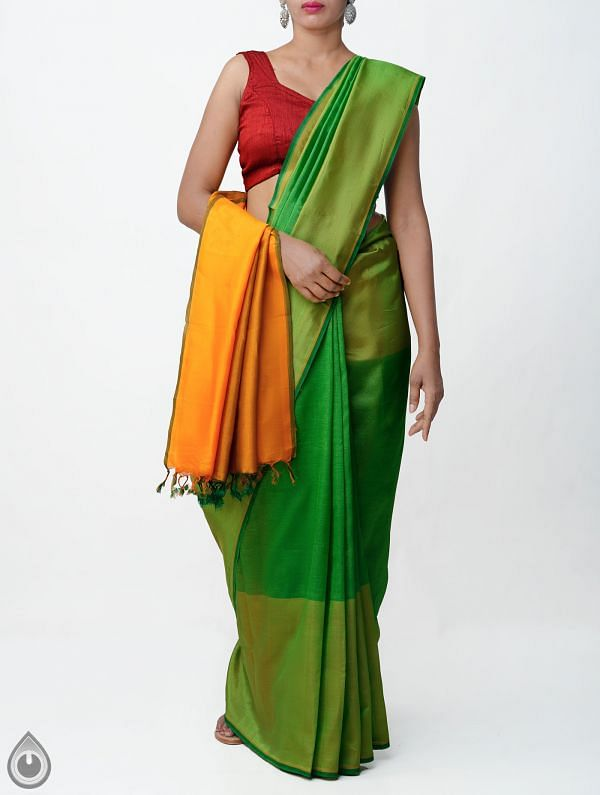 Green Pure Handloom Mangalagiri Silk Saree with Tassels-UNM32956