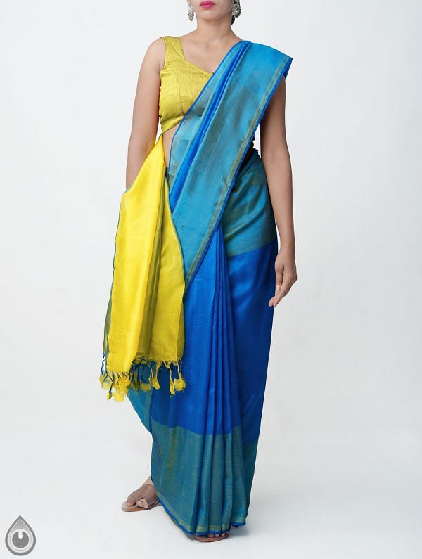 Blue Pure Handloom Mangalagiri Silk Saree with Tassels-UNMP32958