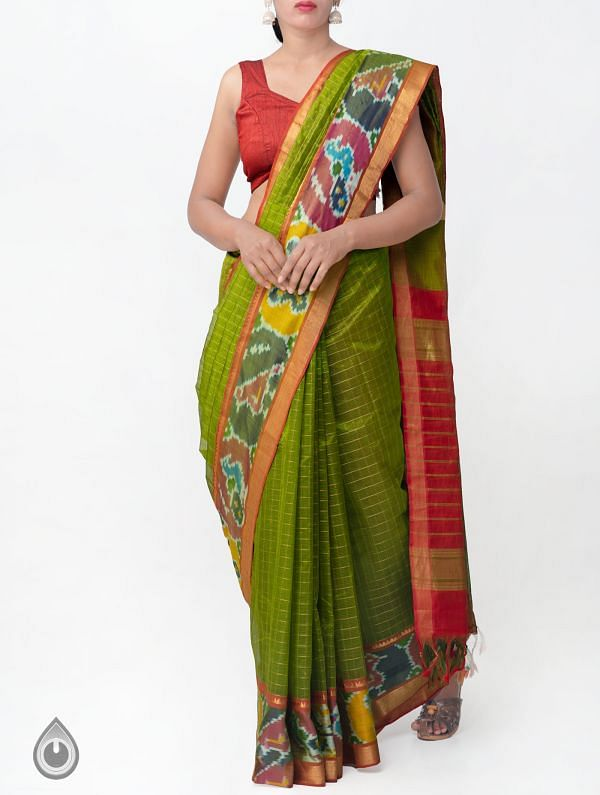 Green Pure Handloom Mangalagiri Silk Pattu Saree with Ikat Border-UNM32962