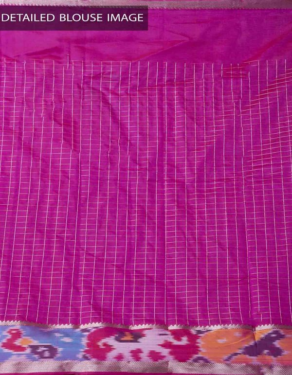 Green Pure Handloom Mangalagiri Silk Pattu Saree with Ikat Border-UNM32965