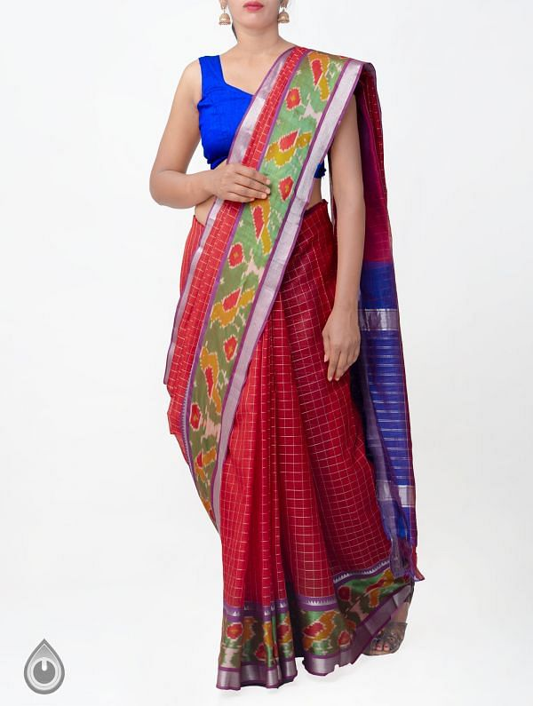 Red Pure Handloom Mangalagiri Silk Pattu Saree with Ikat Border-UNM32970
