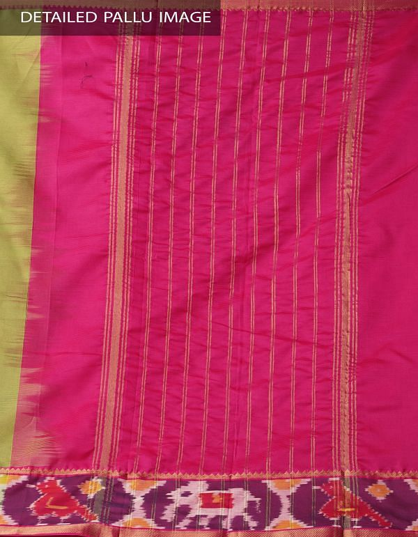 Green Pure Handloom Mangalagiri Silk Saree with Ikat Border-UNMP32972