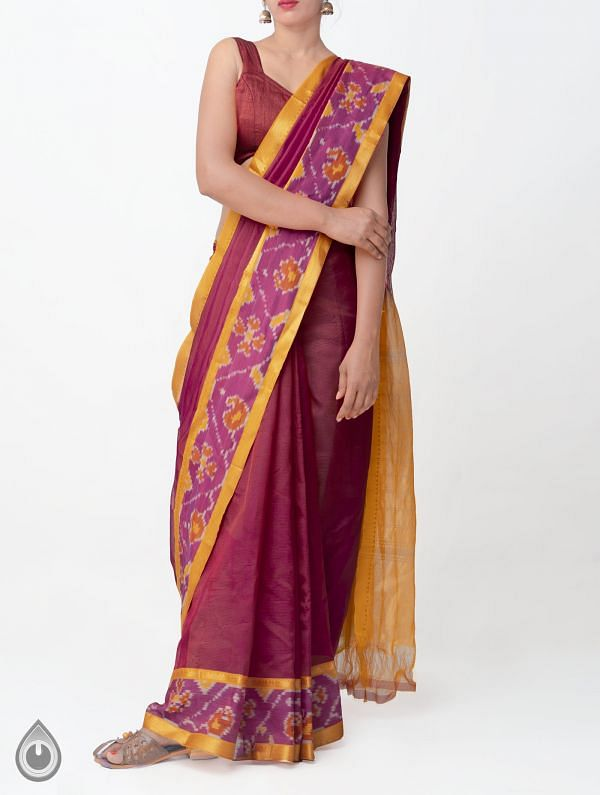 Online Shopping for Red-Pink Pure Handloom Mangalagiri Silk Saree with Ikat Border with  Weaving from Andhra Pradesh at Unnatisilks.comIndia