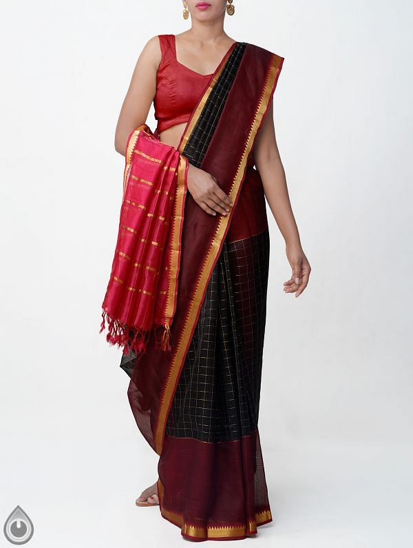 Black Pure Handloom Mangalagiri Silk Pattu Saree with Tassels-UNM32976