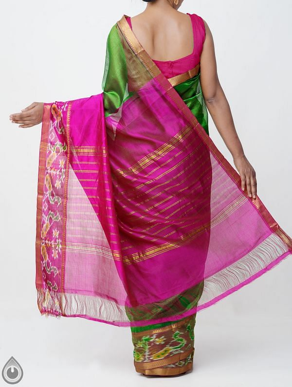 Green Pure Handloom Mangalagiri Silk Pattu Saree with Ikat Border-UNM32979