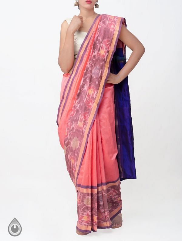 Online Shopping for Pink Pure Handloom Uppada Silk Cotton Saree with Ikat Border with Weaving from Andhra Pradesh at Unnatisilks.comIndia