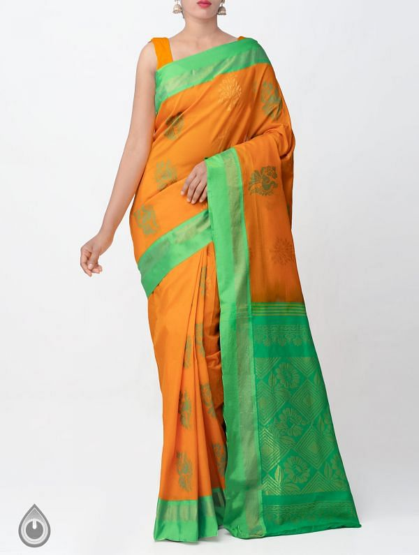 Orange Pure Handloom Uppada Silk Cotton Saree -UNM32995