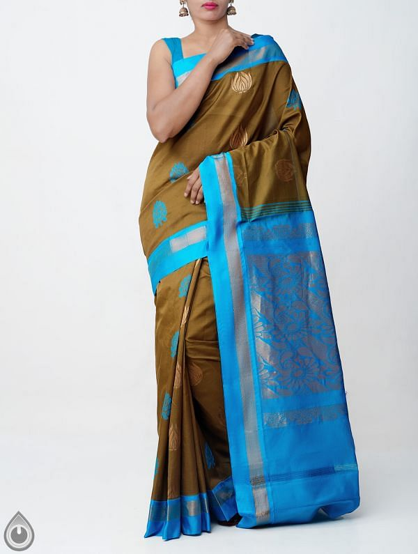 Online Shopping for Brown Pure Handloom Uppada Silk Cotton Saree with Ikat Weaving from  Andhra Pradesh at Unnatisilks.comIndia