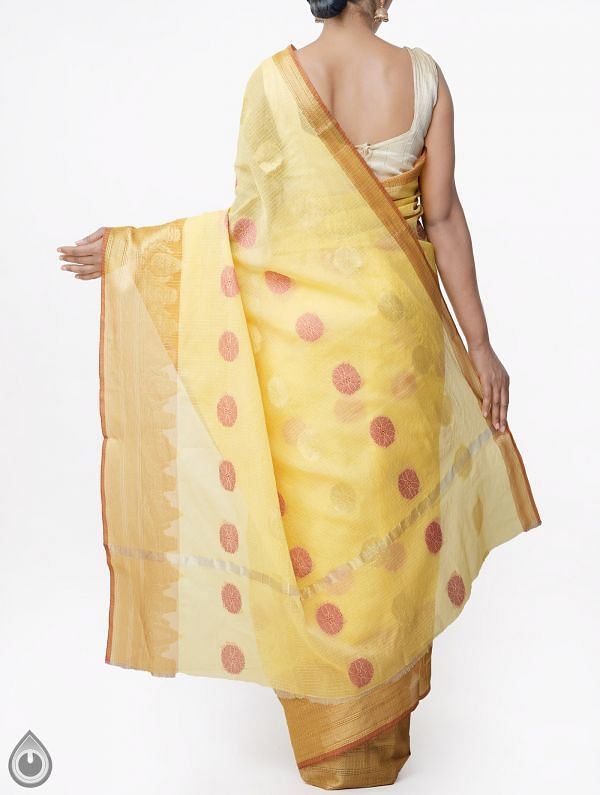 Yellow Banarasi Kota Saree With Motifs-UNMP32998