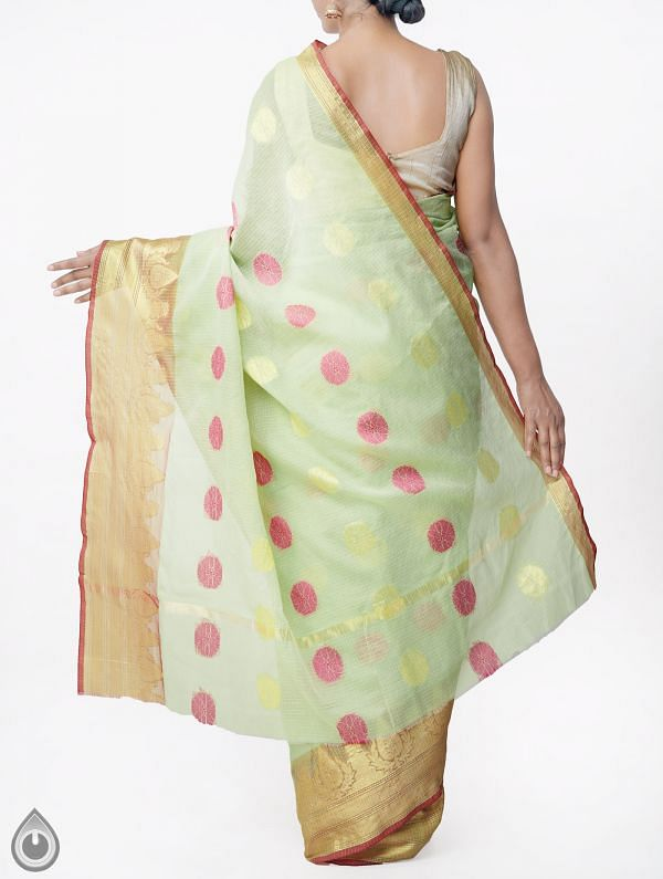 Green Banarasi Kota Saree With Motifs-UNMP33002