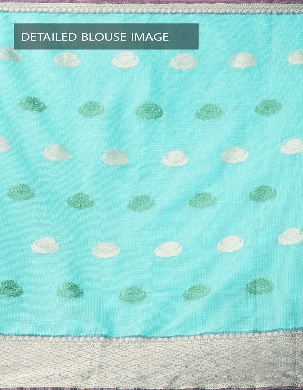 Online Shopping for Sea Green Banarasi Kota Saree With Motifs with Weaving from Rajasthan at Unnatisilks.comIndia