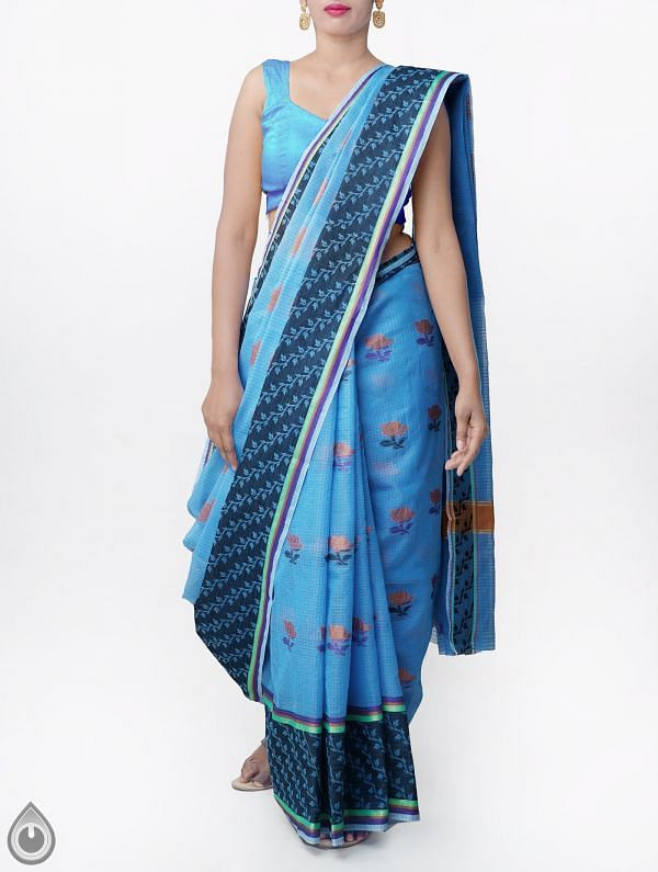 Blue Banarasi Kota Saree With Motifs-UNMP33009