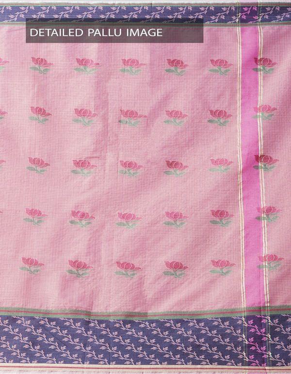 Online Shopping for Pink Banarasi Kota Saree With Motifs with Weaving from Rajasthan at Unnatisilks.comIndia