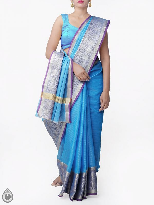 Blue Banarasi Kota Saree With Motifs-UNMP33015