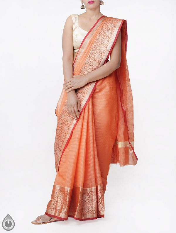 Peach Orange Banarasi Kota Saree With Motifs-UNMP33016
