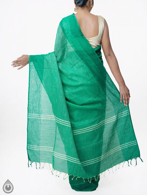 Green Pure Handloom Andhra Khadi Cotton Saree With Tassels-UNMP33020