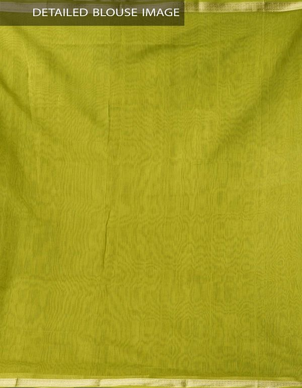 Green Pure Handloom Maheswari Silk Cotton Saree With Ghicha Pallu-UNMP33035