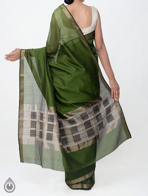 Green Pure Handloom Maheswari Silk Cotton Saree With Ghicha Pallu-UNM33038