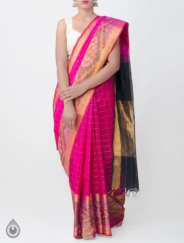 Pink Pure Handloom Mangalagiri Silk Cotton Checks SareeWith Ikat Border -UNM33054