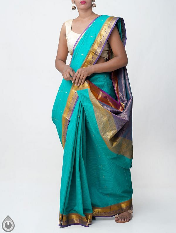 Green Pure Handloom Mangalagiri Cotton Saree -UNMP33057