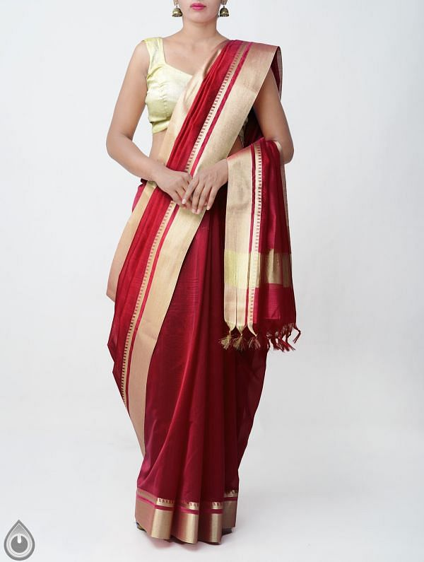 Maroon Kanchi  Sico Saree With Tassels -UNMP33067