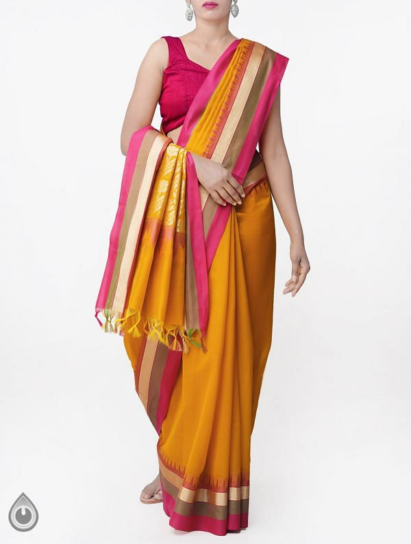 Online Shopping for Orange Uppada Cotton Silk Saree With Tassels with Weaving from Andhra Pradesh at Unnatisilks.comIndia