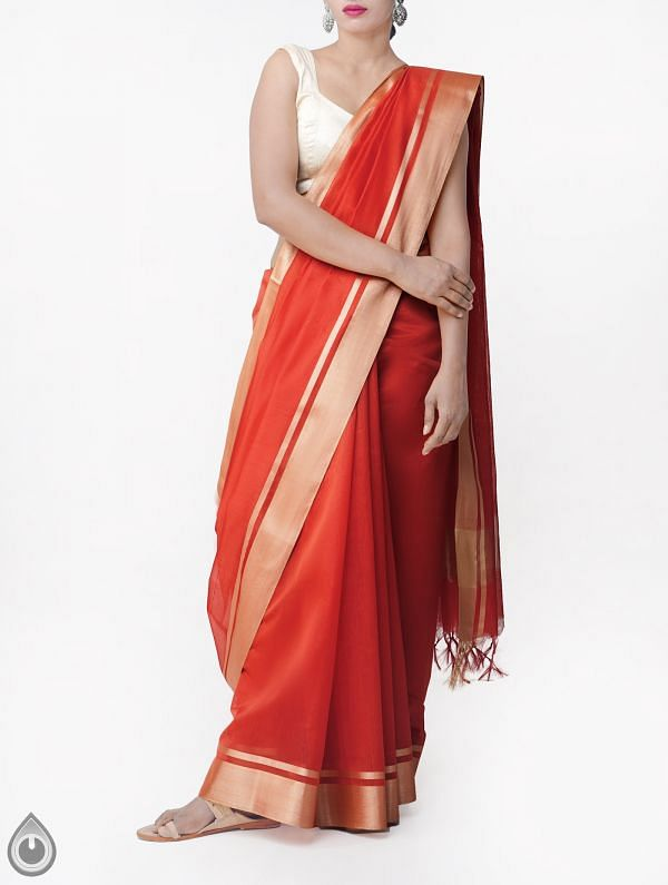 Red Kanchi  Sico Saree With Tassels -UNMP33086