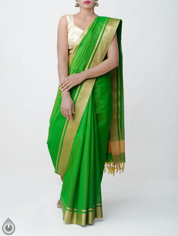Green Kanchi  Sico Saree With Tassels -UNM33092