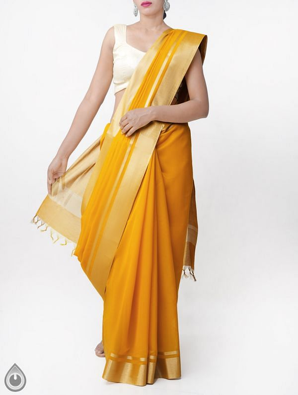 Online Shopping for Yellow Kanchi Sico Saree With Tassels with Weaving from Tamilnadu at Unnatisilks.comIndia