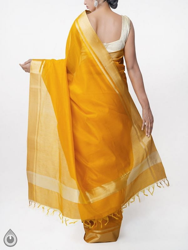 Yellow Kanchi  Sico Saree With Tassels -UNM33096