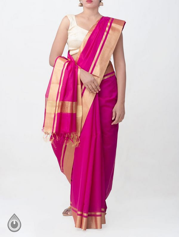 Pink Kanchi  Sico Saree With Tassels -UNMP33097