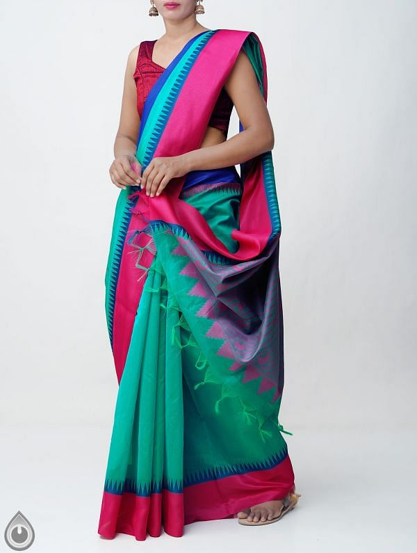 Online Shopping for Green Uppada Cotton Silk Saree With Tassels with West Bengal from Andhra Pradesh at Unnatisilks.comIndia