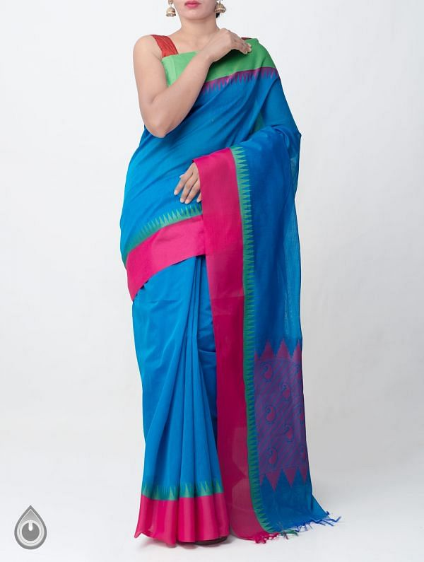 Online Shopping for Blue Uppada Cotton Silk Saree With Tassels with Weaving from Andhra Pradesh at Unnatisilks.comIndia