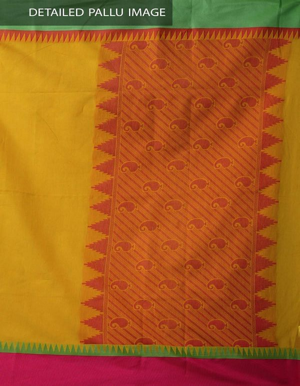 Online Shopping for Yellow Uppada Cotton Silk Saree With Tassels with Weaving from Andhra Pradesh at Unnatisilks.comIndia