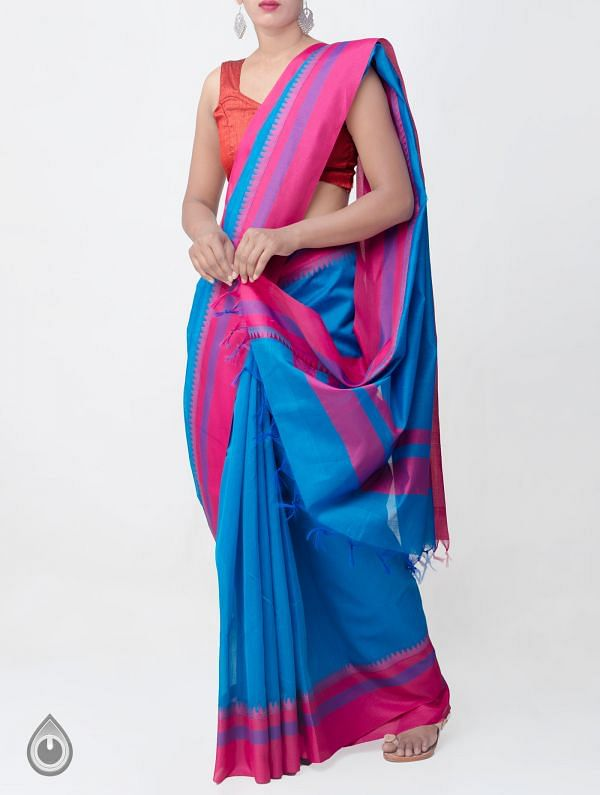 Blue Kanchi  Sico Saree With Tassels -UNMP33120