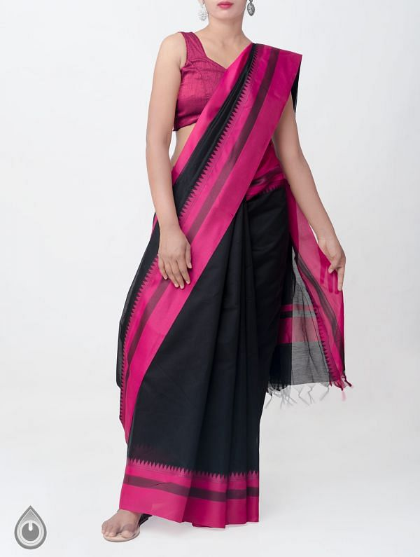 Online Shopping for Black Kanchi Sico Saree With Tassels with Weaving from Tamilnadu at Unnatisilks.comIndia