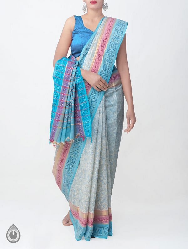 Online Shopping for Ivory Pure Hand Kantha Mangalagiri Cotton Saree with Tassels with Kantha Work, Hand Block Prints from Andhra Pradesh at Unnatisilks.comIndia