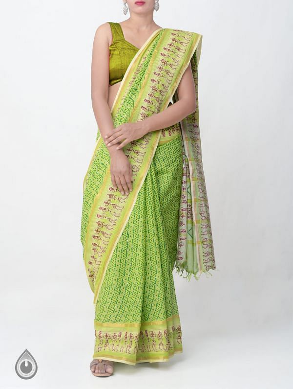 Online Shopping for Green Pure Hand Kantha Mangalagiri Cotton Saree with Tassels with  Kantha Work, Hand Block Prints from Andhra Pradesh at Unnatisilks.comIndia