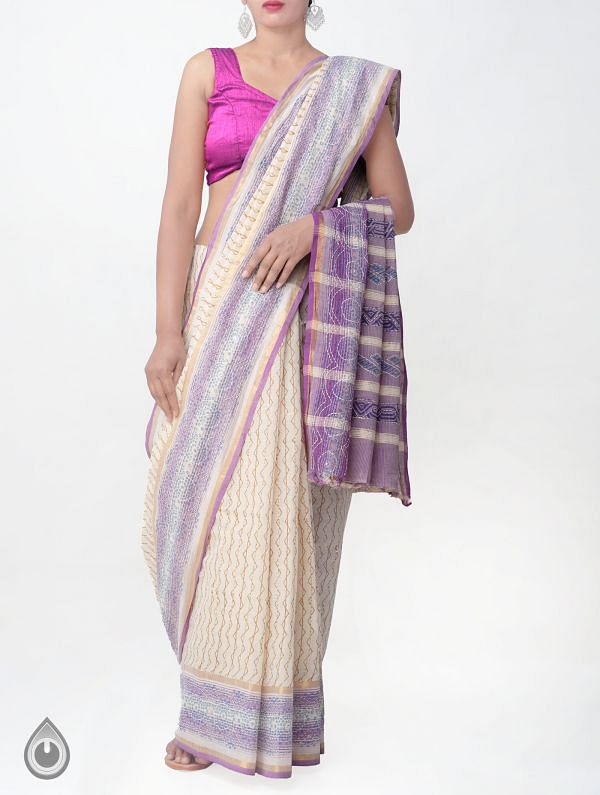 Online Shopping for Beige Pure Hand Kantha Mangalagiri Cotton Saree with Tassels with  Kantha Work, Hand Block Prints from Andhra Pradesh at Unnatisilks.comIndia