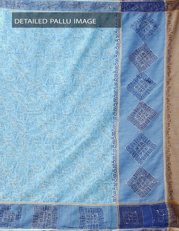 Online Shopping for Blue Pure Hand Kantha Mangalagiri Cotton Saree with Tassels with Kantha Work, Hand Block Prints from Andhra Pradesh at Unnatisilks.comIndia