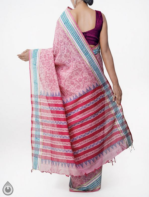 Online Shopping for Pink Pure Hand Kantha Mangalagiri Cotton Saree with Tassels with Kantha Work, Hand Block Prints from Andhra Pradesh at Unnatisilks.comIndia