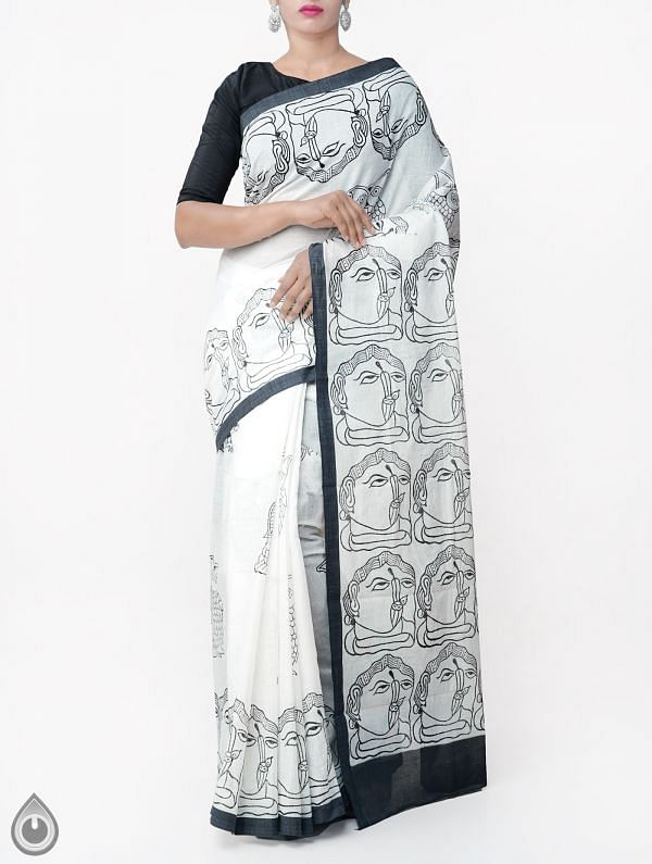 Online Shopping for Off White Hand Block Printed Pure Bengal Cotton Saree with Hand Block Prints from West Bengal at Unnatisilks.comIndia