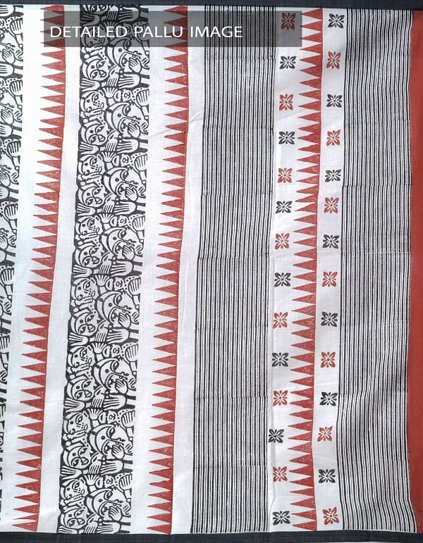 Online Shopping for Off White Hand Block Printed Pure Bengal Cotton Saree with  Hand Block Prints from West Bengal. at Unnatisilks.comIndia